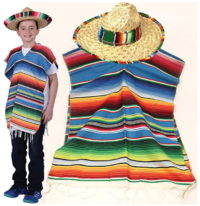 Mexican Poncho and Sombrero Set For Kids