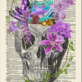 Skull With Flowers and Crystals Dictionary Art Print