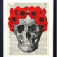Vintage Skull with Red Roses